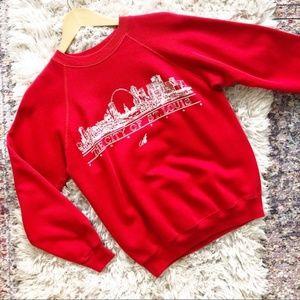 Vintage | Red St. Louis City Skyline Sweatshirt M